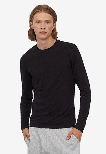 H&M black Jersey Top Slim Fit 495E0AAD23BF8EGS_1