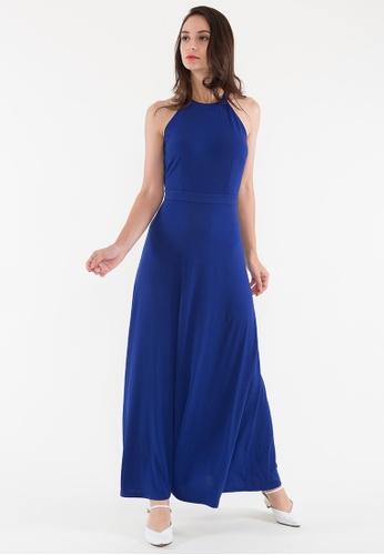 BEBEBEIGE blue BebeBeige High Neck Slim Fit Floor Length Sleeveless Evening Dinner Dress  F5268AA34C4812GS_1