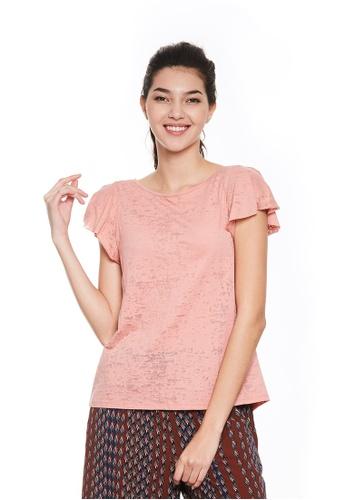 Sisley pink Printed T-shirt 06447AA2ED4B65GS_1