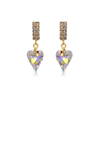 Glamorousky silver Refined Heart Earrings with Silver Austrian Element Crystal 2E411AC58C55DEGS_1