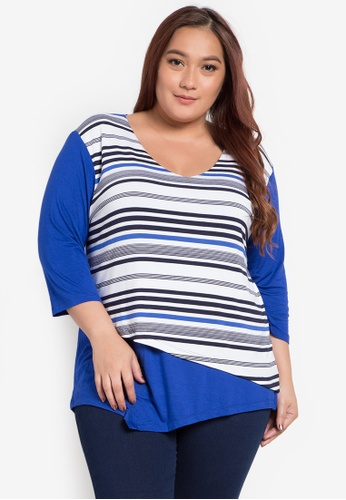Maldita X multi Iwa Stripe Plus Size Color Blocking Blouse MA587AA0JXZ3PH_1