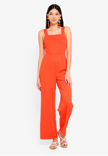 Supre orange Square Neck Rib Jumpsuit 17B2DAA4200E8DGS_1