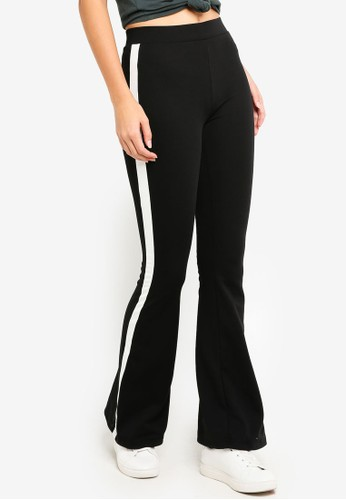 ONLY black Moon Flared Panel Pants E7E91AABBCD6EEGS_1