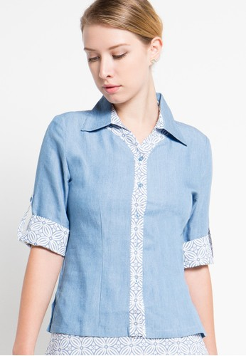 Bateeq blue Short Sleeve Cotton Print Mix Denim Blouse BA656AA73MMCID_1