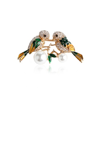 Glamorousky white Fashion and Simple Plated Gold Green Double Bird Imitation Pearl Brooch with Cubic Zirconia 9F307AC3E5CE18GS_1