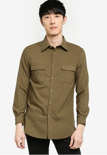 ZALORA BASICS 綠色 Flap Pocket Long Sleeve Shirt 669C7AA008C0FBGS_1