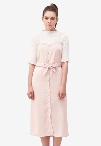 Kodz beige Midi Dress with Waist Tie Detail 4C023AA915BF9AGS_1
