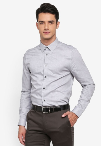 Burton Menswear London grey Grey Slim Fit Jasper Shirt C2FB0AA3750AE8GS_1