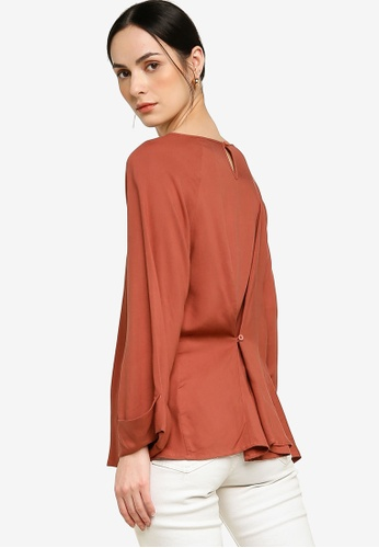 Earth by Zalia Basics red Back Buttoned Top made from ECOVERO™ D89D5AAF61291FGS_1