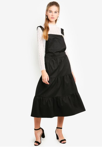 Eyescream black Tiered Pinafore Dress 2AE56AAECF54B9GS_1