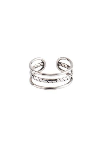 OrBeing 白色 Premium S925 Sliver Geometric Ring 797E6AC678CD23GS_1