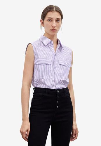Urban Revivo purple Striped Sleeves Shirt C489FAA53F68C8GS_1