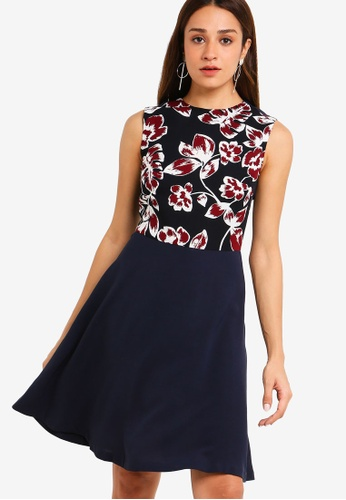 ZALORA multi and navy Contrast Fit And Flare Dress DF790AA9CFB128GS_1