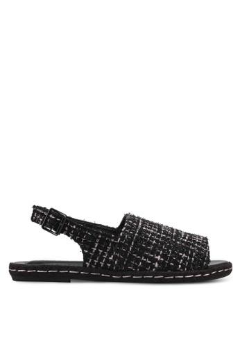VINCCI black Tweed Sling Back Sandals VI831SH0SY3FMY_1