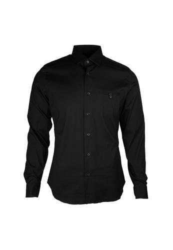 PRADA black Prada Pocket On Chest Stretch Shirt in Nero 0331AAAF796AB6GS_1