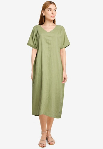LOWRYS FARM green Oversized Back Tie Midi Dress 3E6E1AA5AFF281GS_1