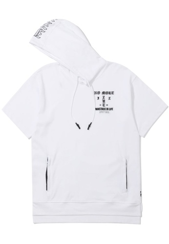 izzue white Slogan embroidered short sleeve hoodie 89880AA255AF8DGS_1