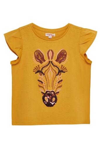 Du Pareil Au Même (DPAM) yellow Frill Sleeve T-shirt A035CKABF929A7GS_1