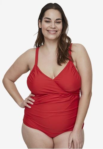 Junarose red Plus Size Vida Wrap Swimsuit 91F61USF86588DGS_1