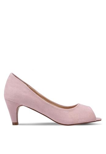 Velvet 粉紅色 麂皮魚口高跟鞋 B0FF4SH99E4151GS_1