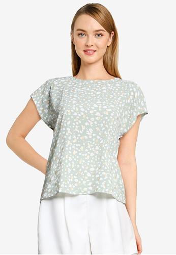 Vero Moda green Sinamon Cap Sleeve Foil Top 2CBA0AAA7856CFGS_1