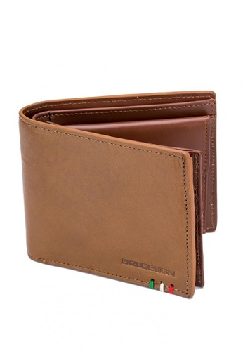 ENZODESIGN brown Italian Leather Wallet With Coin Pocket And Snap Compartment 0E3ABAC8D3A8BEGS_1