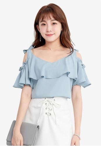 YOCO blue Ribboned Shoulder Cutout Blouse FACA4AAB291B03GS_1