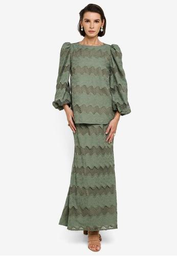 Zalia green Abstract Trim Puff Sleeve Kurung B3386AA617676DGS_1
