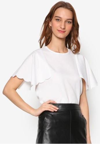 扇貝寬短袖上衣zalora時尚購物網的koumi koumi, 服飾, 上衣