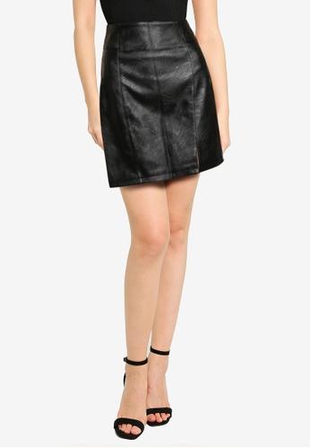 TOPSHOP black Black PU Split Mini Skirt 1FC9EAAE8EF1AAGS_1