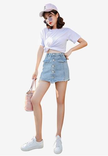 Lara 藍色 女裝單排扣牛仔布短裙 7D3A9AA568A2E6GS_1