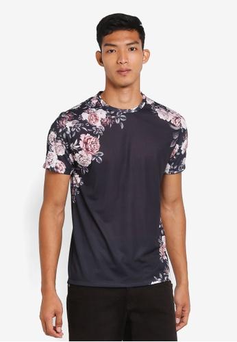 Burton Menswear London black Black Rose Floral Placement T-Shirt 35E69AAAAB784AGS_1