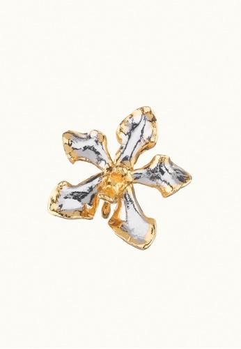 RISIS multi RISIS 24K Gold and Rhodium Plated Natural Vanda Limbata Orchid Brooch/Pendant DCDBEACF6BF784GS_1