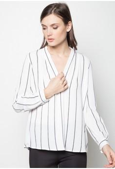 Striped V Neck Long Sleeves Blouse