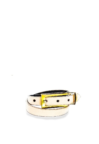 CSHEON white Arden Layered Cuff - White Genujine Leather by CSHEON 0FDC5AC519CE33GS_1
