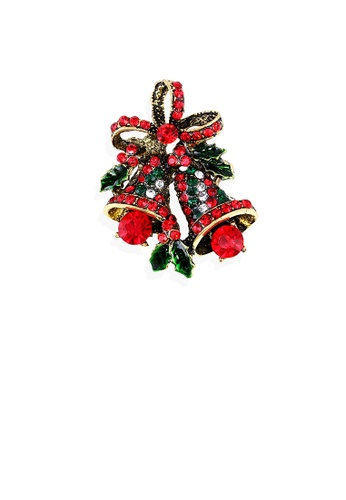 Glamorousky silver Fashion Bright Plated Gold Christmas Bell Brooch with Cubic Zirconia 23D6AACA09E5ADGS_1
