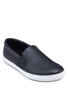 Elastic Band Faux Leather Slip Ons