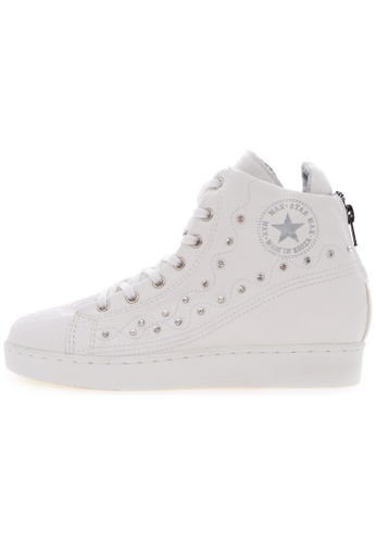 Maxstar Maxstar O2H Synthetic Leather Taller Insole Studed White Platform Sneakers US Women Size MA168SH60USLHK_1