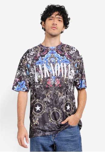 Topman blue and multi Blue Mesh Unknown Print T-Shirt TO413AA0SR93MY_1