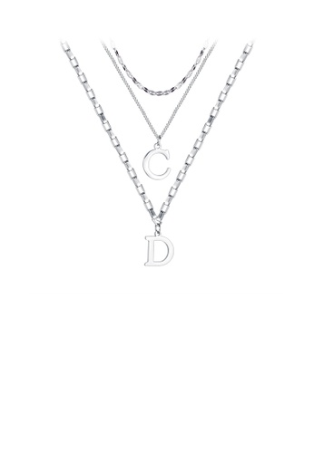 Glamorousky silver Simple Personality English Alphabet C D 316L Stainless Steel Pendant with Double Necklace 3CC23ACD25B8B6GS_1