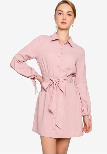 ZALORA WORK pink Cuff Detail Shirt Dress 1CCE4AAC8A1661GS_1