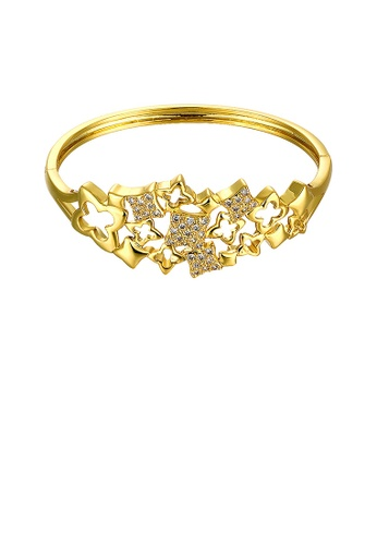Glamorousky white Fashion Plated Gold Four-leafed Clover Bangle with Cubic Zircon 962B0AC73A0776GS_1