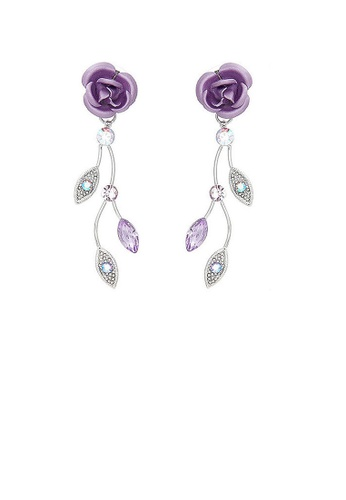 Glamorousky purple Violet Rose Earrings with Violet Austrian Crystals and Crystal Glass 9E02FAC4A2DD57GS_1