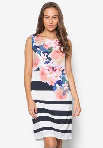 花卉條紋無袖洋esprit tw裝, 服飾, 洋裝