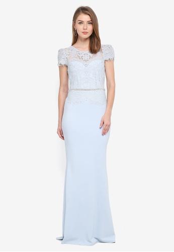 Goddiva blue Lace Bodice Maxi Dress With Cap Sleeves C17F7AA2A68AD0GS_1