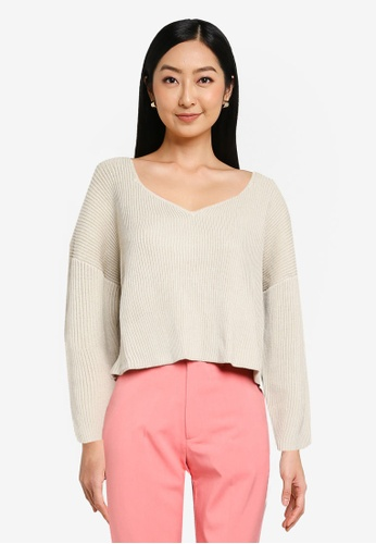 JEANASIS white Wide Neck Knit Sweater 23754AAA34301EGS_1