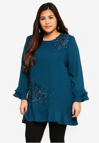 BYN green and blue Plus Size Muslimah Blouse 6938DAAA7102FBGS_1
