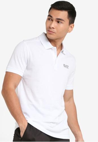 EA7 white Train Logo Series Sueded Pima Polo Shirt 1018DAA7569781GS_1