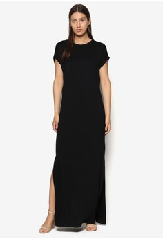 Basics Rolled Up Sleeves Maxi Dress