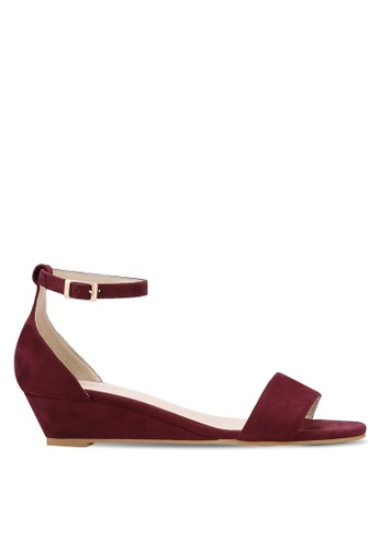 ZALORA red Low Wedge Sandals 1E4C7SHE14C8A0GS_1